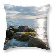 Ocean Flickering Under Sunset Throw Pillow