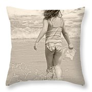 Ocean Moment Quote Throw Pillow