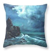 Seascape And Moonlight An Ocean Scene Throw Pillow