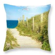 Ocean Path In Cornwall Throw Pillow