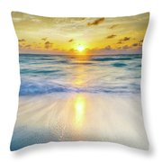 Ocean Reflections At Sunrise Throw Pillow