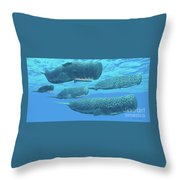 Ocean Sperm Whales Throw Pillow