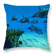 Ocean Striped Dolphins Throw Pillow