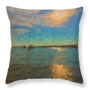 Ocean Sun Path At Boothbay Harbor Throw Pillow