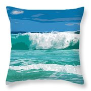 Ocean Surf Illustration Throw Pillow by Phill Petrovic