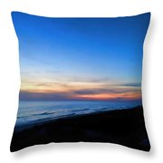 Ocean View Of Sunset On The Beach At Cape San Blas, Florida Throw Pillow