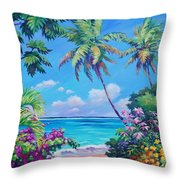 Ocean View With Breadfruit Tree Throw Pillow