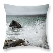 Ocean Water Crashing Againt Rocks With Cloudy Skies Throw Pillow