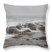 Ocean Waves Over Rocks Throw Pillow