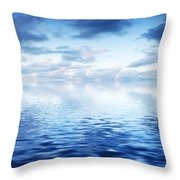 Ocean With Calm Waves Background With Dramatic Sky Throw Pillow