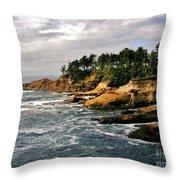 Oceanside - Depoe Bay Throw Pillow
