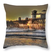 Oceanside Pier Hdr  Throw Pillow