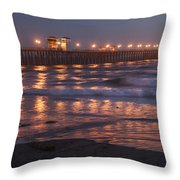 Oceanside Pier In The Mist Throw Pillow