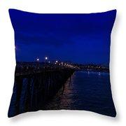 Oceanside Pier Night Image Throw Pillow