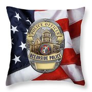 Oceanside Police Department - Opd Officer Badge Over American Flag Throw Pillow