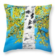 October Birch Throw Pillow