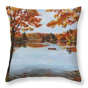 October Morn At Walden Pond Throw Pillow by Jack Skinner