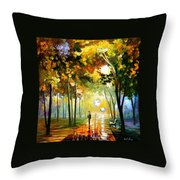 October Reflections - Palette Knife Oil Painting On Canvas By Leonid Afremov Throw Pillow