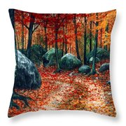 October Woodland Throw Pillow