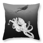 Octopus And Diver - Bw Throw Pillow