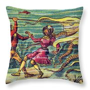 Octopus Attack, 1900s French Postcard Throw Pillow