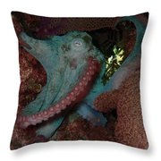 Octopus On Night Dive Throw Pillow
