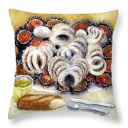 Octupus And Sea Urchins Dinner Throw Pillow