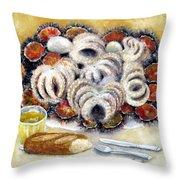 Octupus And Sea Urchins Dinner Throw Pillow
