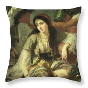 Odalisque Throw Pillow by Jean Baptiste Ange Tissier