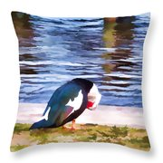 Odd Looking Duck In Swansboro Nc Throw Pillow