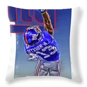 Odell Beckham Jr New York Giants Oil Art 2 Throw Pillow