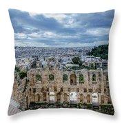 Odeon Of Herodes Atticus - Athens Greece Throw Pillow