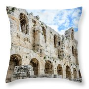 Odeon Stone Wall - Athens Greece Throw Pillow