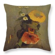 Odilon Redon - Vase With Poppy, Camomile And Bindweed Throw Pillow