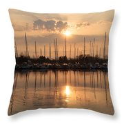 Of Yachts And Cormorants - A Golden Marina Morning Throw Pillow
