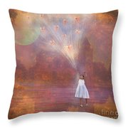 Off To Fairy Land - By Way Of Fairyloons Throw Pillow