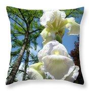 Office Art Giclee Prints White Yellow Iris Flowers Irises Baslee Troutman Throw Pillow
