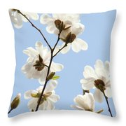 Office Art Prints Blue Sky White Magnolia Flowers 38 Giclee Prints Baslee Troutman Throw Pillow