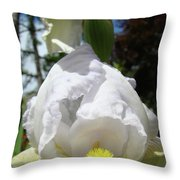 Office Art Prints Iris Flowers White Yellow Irises Baslee Troutman Throw Pillow
