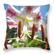 Office Art Prints Pink White Lily Flowers Botanical Giclee Baslee Troutman Throw Pillow