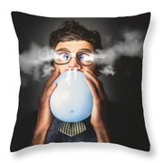 Office Party Nerd Blowing Up Birthday Balloon Throw Pillow