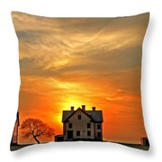 Officer's Row At Sunset Throw Pillow