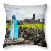 Official Greeter At Ireland's Quin Abbey National Monument Throw Pillow