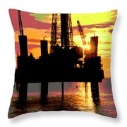 Offshore Drilling Rig Sunset Throw Pillow