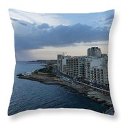 Offshore Rainstorm - Sliema's Famous Promenade Waking Up Throw Pillow