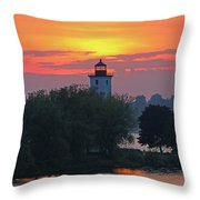 Ogdensburg Lighthouse At Sunset 6695 Throw Pillow