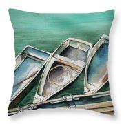 Ogunquit Maine Skiffs Throw Pillow