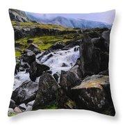Ogwen Rock Waterfall Throw Pillow
