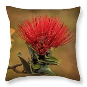 Ohia Lehua Flower Volcanos National Park Throw Pillow