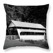 Ohio Covered Bridge In Black And White Throw Pillow